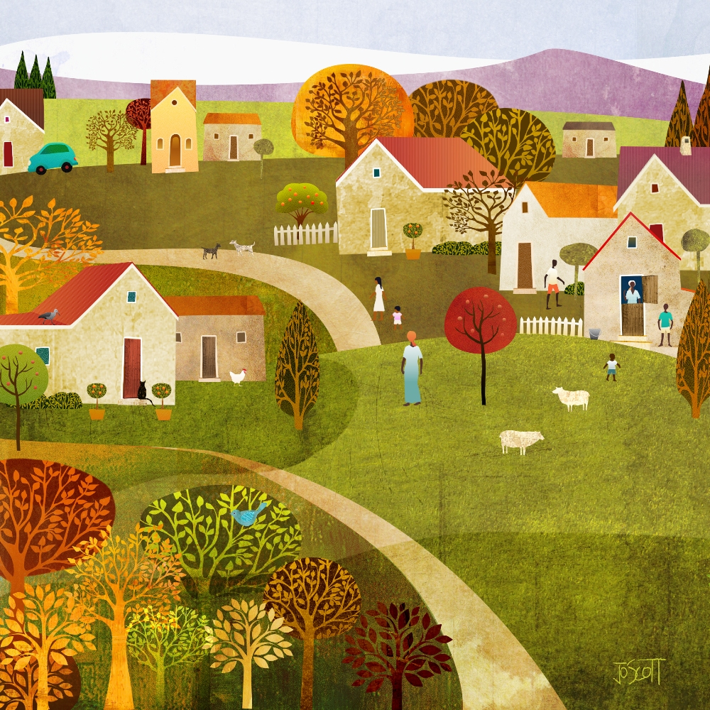 Hilltop Village-print or greeting card