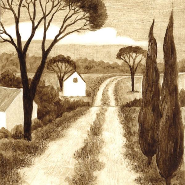 Country Road-Bitumen Painting