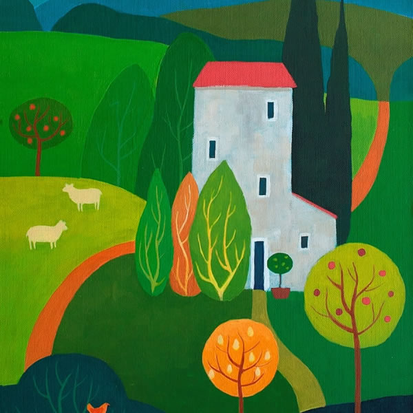 Tuscan Summer-gouache-on-board