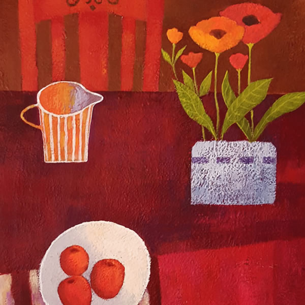 Red Still Life -Painting on Canvas